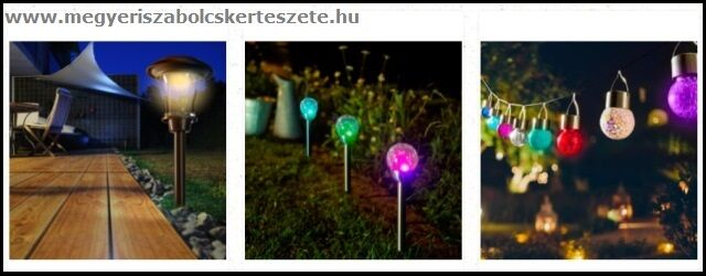 Napelemes kerti lámpák a Megyeri kertészetből